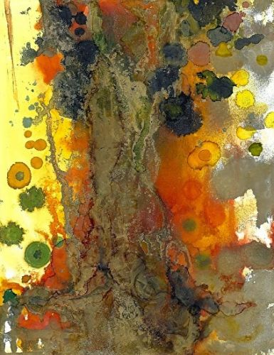 """Contemporary Alcohol Ink Painting """"Solitary Old Tree"""" by Contemporary New Orleans Artist Lou Jordan"""