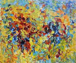 Abstract Floral Palette Knife Painting 'Color Symphony' by Judith Babcock Colorado Artist