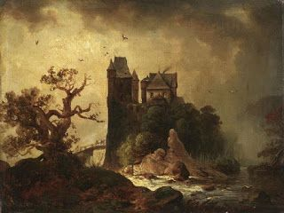 Carl Hilgers, Romantic landscape with a castle on a steep cliff