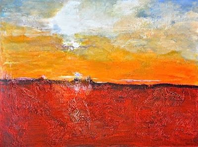 "Mixed Media Abstract Landscape Painting ""Carefree Forever"" by California Artist Cecelia Catherine Rappaport"