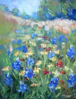 Wild Flower Blues, Contemporary Landscape painting by Sheri Jones
