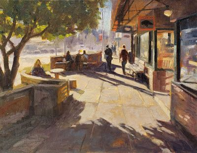 """Breakfast at the Black Bird"" Bainbridge Island oil painting by Robin Weiss"