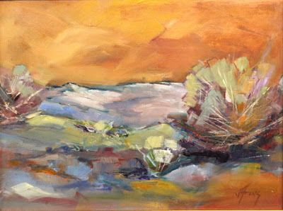 "Abstract Landscape, Orange Sky, Contemporary Impressionist Landscape Painting,Colorado Landscape, Fine Art Oil Painting,""Sienna Sky"
