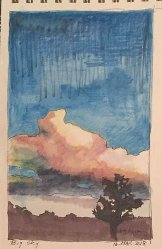 "Day 162 ""Lone Tree"" ink and watercolor pencil 9 x 5"