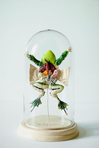 Florals, Beads, and Lace Embellish Whimsical Faux Taxidermy and Anatomical Sculptures