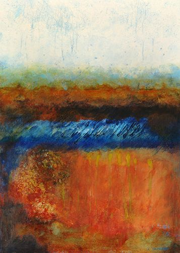 "Abstract Landscape, Contemporary Art, Abstract Painting, Expressionism, Mixed Media, ""ON THE HORIZON"" by Contemporary Artist Liz Thoresen"