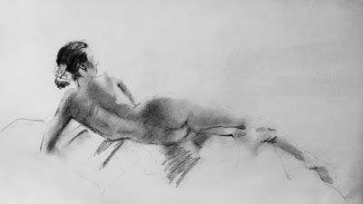 Drawing of a Nude - charcoal life drawing