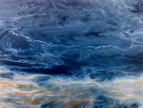 "Contemporary Seascape, Abstract Seascape, Beach Art, Ocean Waves,Coastal Living Decor, Fine Art, ""Stormy Waters"" Electric Storm Series, by International Contemporary Artist Kimberly Conrad"
