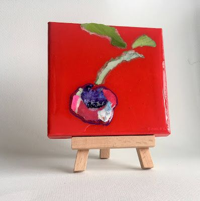 """Summer Sale, Still Life, Resin, Textural Collage, Small Painting, Mixed Media """"PAPER BING"""