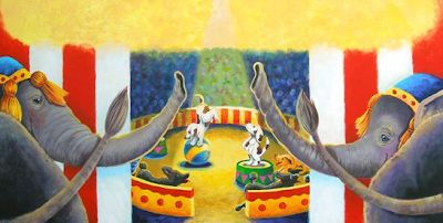 "Children's Art, Elephant Illustration Painting Illustration ""ILLUSTRATION FOR TRUNKS AND TAILS"" by Colorado Artist Nancee Jean Busse"