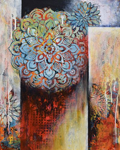 "Contemporary Flower Painting, Abstract Art,""First Bloom"" by Santa Fe Contemporary Artist Sandra Duran Wilson"
