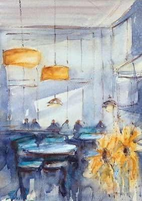 "Interior View Fine Art Watercolor Painting,""MERCANTILE INTERIOR DENVER"" by Artist Carolyn Zbavitel"