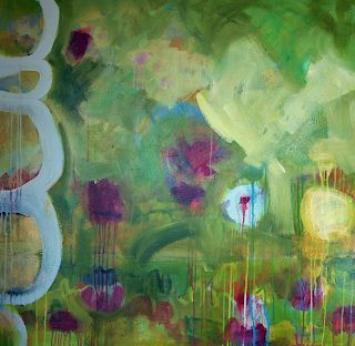 "Contemporary Abstract Mixed Media Painting ""Spring Finally"" by Santa Fe Artist Annie O'Brien Gonzales"