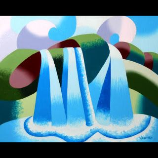 Mark Webster - Abstract Geometric Waterfall Landscape Oil Painting