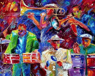 "Original Jazz Art Music Abstract Painting ""Latin Jazz"" by Debra Hurd"