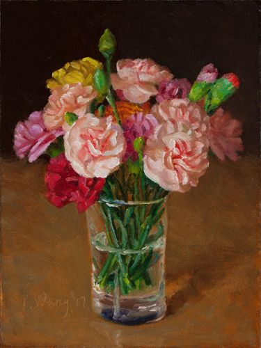 Carnation flower original painting still life flora