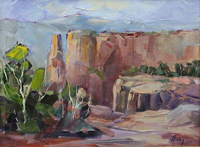 "Monument Canyon, Colorado National Monument, Contemporary Impressionist Colorado Landscape Painting, Fine Art Oil Painting,""Overlook"" by Colorado Contemporary Fine Artist Jody Ahrens"