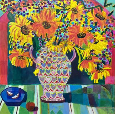"Contemporary Abstract Bold Expressive Still Life Flower Art Painting, ""Sunflower Samba"" by Santa Fe Artist Annie O'Brien Gonzales"