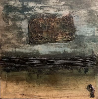 "Contemporary Painting, Mixed Media Art, ""WHAT IS NEXT"" by Florida Contemporary Artist Mary Ann Ziegler"