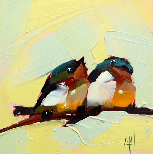 Thick Brushstrokes Form Plump Songbirds in Oil Paintings by Angela Moulton