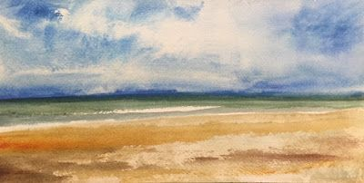 """Watercolor Beach and Ocean Painting, """"Perfect Beach Day,"""" by Amy Whitehouse"""