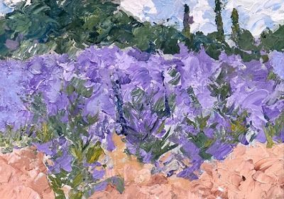 """Impressionist French Floral Landscape Painting, Provence, France, Landscape Painting """"Lavender"""" by Colorado Impressionist Judith Babcock"""