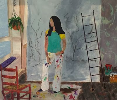"Contemporary Female Figurative Painting, Interior View, Artist ""In Her Studio"" by Oklahoma Artist Nancy Junkin"