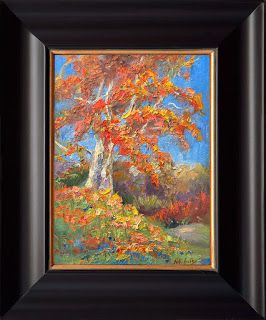 """""""Golden Birch"""" Palette Knife Painting by Contemporary Impressionist Niki Gulley"""