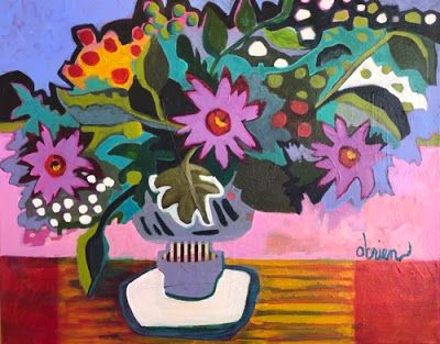 """Contemporary Floral painting, Expressionist Still Life Art,Bold Expressive Painting """"April"""" by Santa Fe Artist Annie O'Brien Gonzales"""