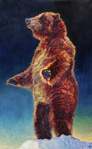 """Colorful Contemporary Animal Art,Bear Painting """"Aurora"""" by Contemporary Animal Artist Patricia A. Griffin"""