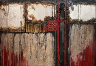 "Mixed Media Abstract Painting, ""Industrial Chic 2"" by Colorado Mixed Media Artist Carol Nelson"