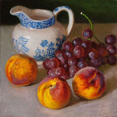 Grapes peaches still life fruit painting original