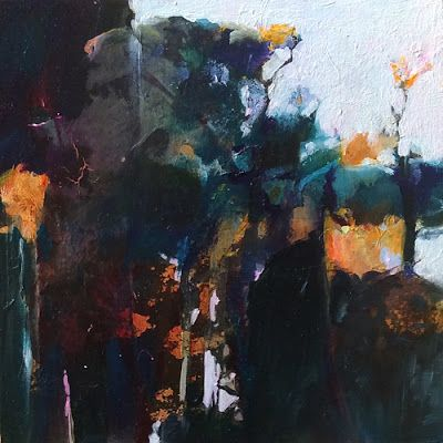 "Abstract Mixed Media Landscape Painting ""Moonlit Garden"" by Intuitive Artist Joan Fullerton"