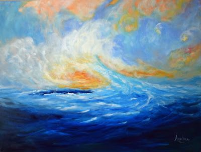 """Contemporary Abstract Seascape Painting """"Our Dreams Make Us Come Alive"""" by Contemporary International Artist Arrachme"""
