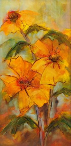 "Still Life Floral Painting, Fine Art Oil Painting, Yellow Flower ""Friendly Sunflowers"" by Colorado Contemporary Fine Artist Jody Ahrens"