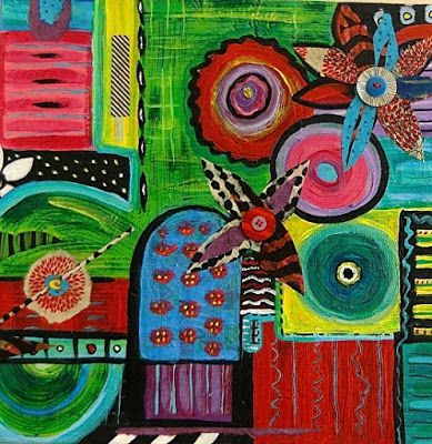 "Colorful Original Contemporary Collage Art Painting,Abstract Flower Art,""Garden Plan IV"" by Santa Fe Artist and Designer Melanie Birk"