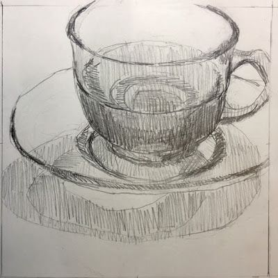 Green Vaseline Glass Cup and Saucer Drawing