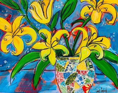 """Expressive Still Live Floral Painting, Colorful Original Flower Art, """"MISS LILY AND FRIENDS """" by Texas Contemporary Artist Jill Haglund"""