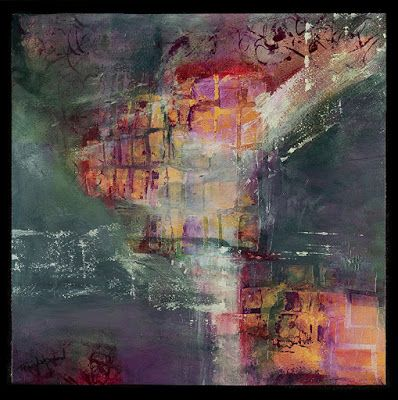 "Mixed Media Abstract Painting, Contemporary Art, Expressionism, ""Labyrinth"" by Contemporary Artist Tracy Lupanow"