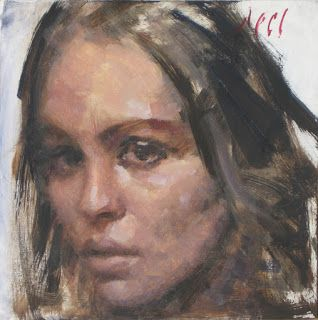 """Melissa"" female portrait 6×6 oil painting"