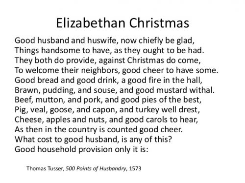 Christmas Food & Drink- Englishman Thomas Tusser (1520-1580) on Elizabethan Christmas Food