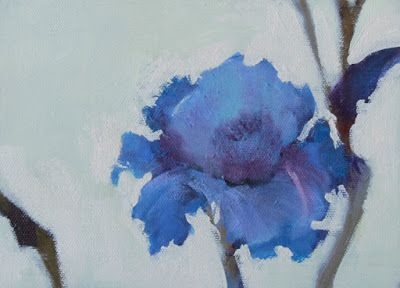 "Impressionist Floral Painting, Fine Art Oil Painting, Blue Flower ""SINGLE BLUE IRIS"" by Colorado Artist Susan Fowler"