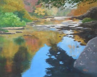 Patchwork River, 20x16 Original Oil Painting on Canvas, Smoky Mountain Landscape