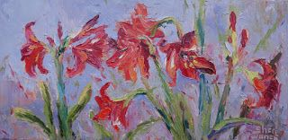 Amaryllis in Bloom, New Contemporary Landscape Painting by Sheri Jones