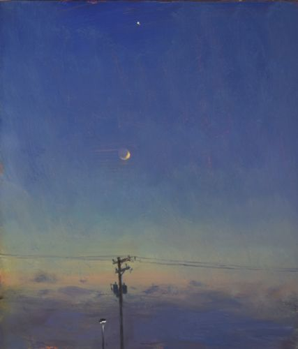 Telephone Pole with Venus and Moon
