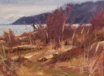 """""""Point no Point Headland"""" plein air landscape painting by Robin Weiss"""