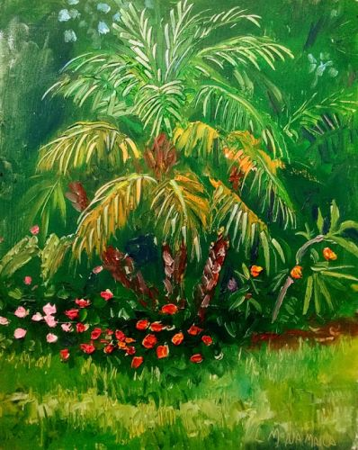 1787 June-Ann's Palm Trees Plein Air alla Prima