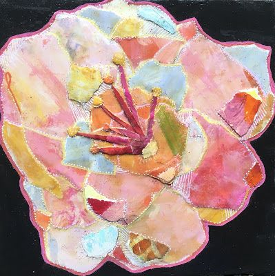 "Floral Art, Flower Painting,Textural Collage, Mixed Media ""PAPER FLOWER AT NIGHT"