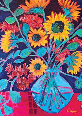"Expressive Still Life Floral Painting, Flower Art, ""SUNFLOWER SYMPHONY "" by Texas Contemporary Texas Artist Jill Haglund"