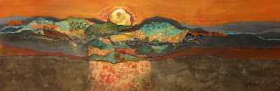 "Abstract mixed media collage landscape, ""Sonoran Sunset"" © Carol Nelson Fine Art"